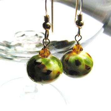 Free Shipping, Wild Savannah Lampwork Earrings, Green, Brown SRA Artisan Glass, Swarovski Crystals,14k Gold Filled, Handmade Gift, SAFARI