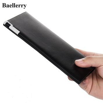Hot Sale Leather Wallets Men High Quality Casual Slim Long Purses Male Money Bags Credit Card Holders Famous Brand Clutch Wallet