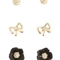 Bows & Blossoms Earring Set: Charlotte Russe