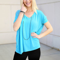 Piko V neck Top Short Sleeve - turquoise