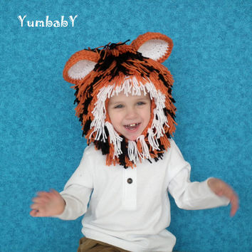 Tiger Hat - Orange Black and White Tiger Wig - Unique Winter Beanie - Christmas Gift Idea