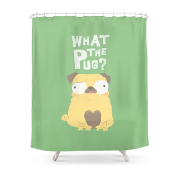 Society6 What The Pug Shower Curtains