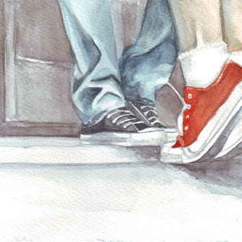 Original watercolor painting two lovers man boy woman girl kissing in converse all star art