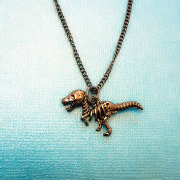 Dinosaur skeleton small charm necklace!