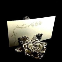8 Art Nouveau Silver Plated NAPKIN RING HOLDERS Roses includes Name Cards
