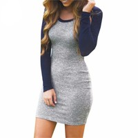 Female Hot Sale Vintage Style Sexy Clothign 2016 Newest Grey and Blue Long Sleeve Color Block Round Neck Bodycon Dress