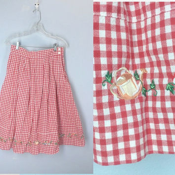 80s Red Gingham Skirt, High Waist Skirt, Garden Skirt, 1980s Skirt, Everyday Skirt, Red Plaid Skirt, Skirt with Pockets, Summer Skirt