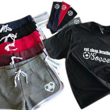Eat Sleep Breathe Soccer Short, T-Shirt and Soccer Headband Gift Set