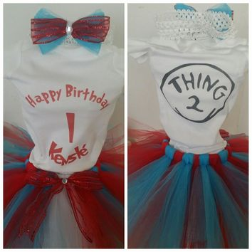 Thing 1 Thing 2 Tutu Outfit, Dr Seus Tutu Birthday Outfits