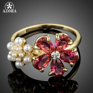 AZORA Gold Color Lovely Red Cubic Zirconia and Tiny Imitation Pearls Flowers Fashion Finger Rings TR0171