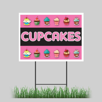 """18""""x24"""" Cup Cakes Yard Sign Frosting Cookie Cake Store Sign"""