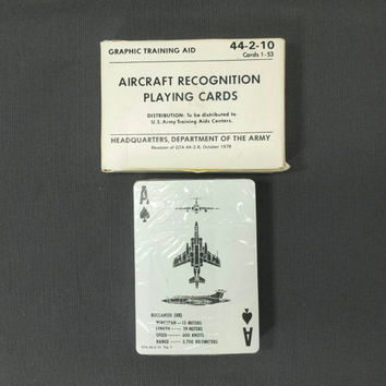 Aircraft Recognition Playing Cards, Vintage Military, US Army, Training Aids, Ephemera, Scrapbooking, Paper Crafts, Collages, Mixed Media