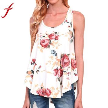 Sexy Backless Blouse 2017 Summer Women Floral Print Shirt Sleeveless Tops O Neck Feminina Tops Shirts Plus size