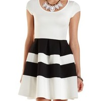 Combo Color Block Striped Skater Dress by Charlotte Russe