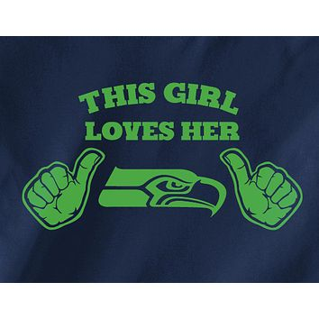Navy funny trendy This girl loves the Seattle Seahawks Tee Tshirt T-shirt