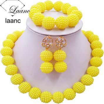 Laanc Yellow Simulated Pearl Beads African Jewelry Set Nigerian Wedding Necklace SP1R012