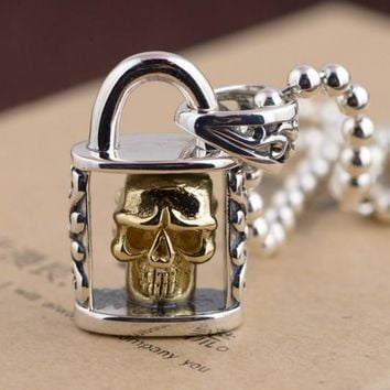 SKULL LOCK PENDANT NECKLACE 925 STERLING SILVER