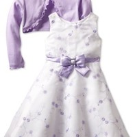 Youngland Little Girls' Two Piece All Over Embroidery Organza Dress Set, Lilac, 4