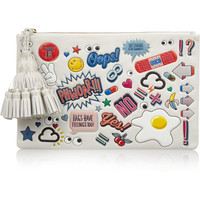 Anya Hindmarch - Stickered-Up Georgiana embossed leather clutch