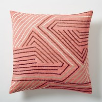 Embroidered Maze Pillow Cover - Poppy
