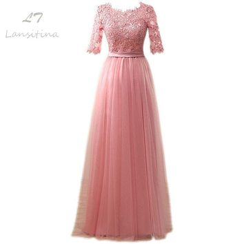 LANSITINA Elegant Hot Sale Floor-Length Appliques Evening Dress Cheap Prom Dresses Robe De Soiree Party Dress With Half Sleeves