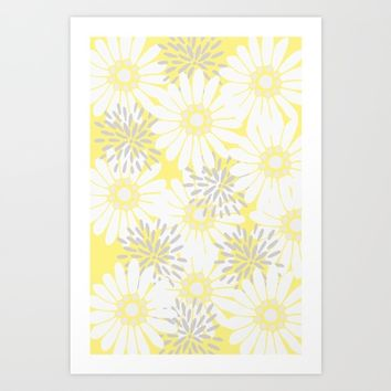 Summer Flowers Yellow Art Print by LaVieClaire