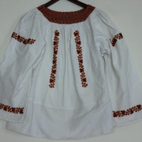 Gorgeous Beaded Blouse Vintage Romanian Shirt Hand Beaded With Brown And Black Beads Floral Pattern
