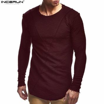 Comfortable Extend Hip Hop Men T Shirt Long Sleeve Basic Solid O-Neck Patchwork Loose Gyms Muscle Shirts Tee Male Clothing
