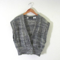 Vintage mohair sweater vest. knitted wool sweater. women's size S