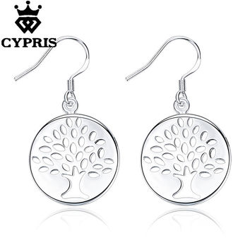Silver tree of life hot classic religion totem xmas tree  lady earrings drop gift xmas hot fancy plant round girlfriend female