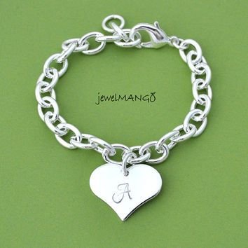 Initial Heart Bracelet, gift for BFF, large heart, bold, unique, chunky, Heart Pendant, big heart, monogram, adjustanle bracelet, initial