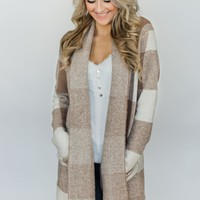 Gingham Jacket Cardigan- Mocha & Cream