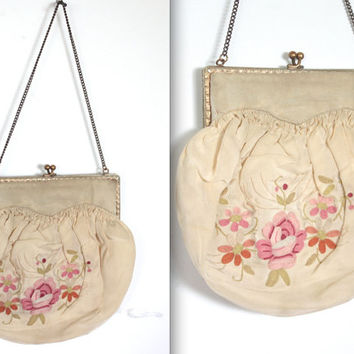 Vintage 1920s Purse // 20s Needlepoint Embroidered Silk Handbag // Edwardian Petite Point French Purse