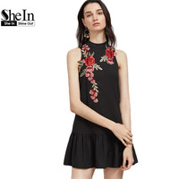 SheIn Women Clothes Women Fashion 2017 Black Embroidered Rose Applique Open Back Sleeveless Drop Waist A Line Dress