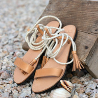 Leather Sandals - One of a Kind - Greek Wrap Up sandals with letter tassels - Ancient Greek sandals with leather and ropes in white- gold