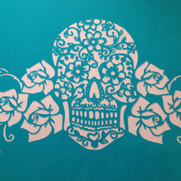 Sugar skull,Day Of The Dead Lace and roses mexican skull cake topper stencil ! - cake decorating stencils