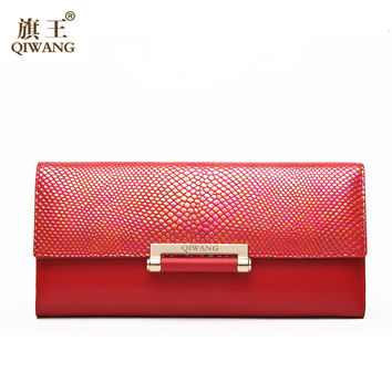Wallet Women Luxury Brand 2016 New Arrival Genuine Leather Women Purse Elegant Metal Smake Skin Cow Wallet