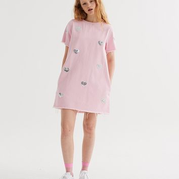 Lazy Oaf Sparkle Heart Tunic Dress - Dresses - Categories - Womens