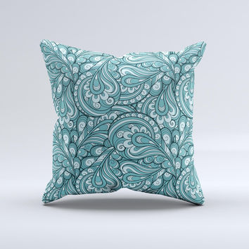 Teal Floral Paisley Pattern Ink-Fuzed Decorative Throw Pillow