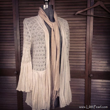 Bohemian Jacket / Vintage Lace Knit / Romantic Gypsy Hippie Style / Size L or XLG