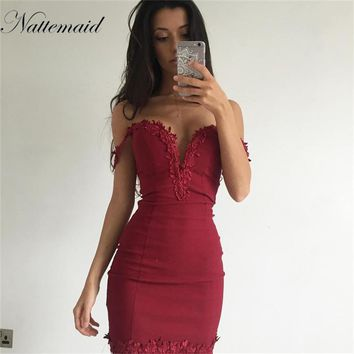 NATTEMAID Sexy  Summer Dress V Neck Spaghetti floral Strap Women Party Dresses Sheer Backless Slip Beach Dress Vestidos
