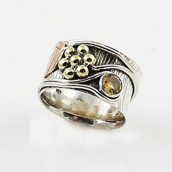 """Citrine """"Garden"""" Two Tone Sterling Silver Band Ring"""