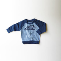 (Rain, Rain) Go Away! Organic Cotton Raglan in Blue