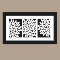 Black White Personalized Custom Colors Burst Dahlia Bloom Artwork Set of 3 Trio Prints WALL Decor Abstract ART Picture Bedroom Bathroom