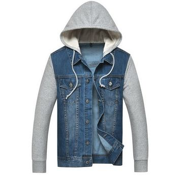 Men's Casual Comfortable Pretty Cool Stylish Denim Hooded Jacket
