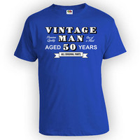 50th Birthday T Shirt Custom Birthday Gifts For Men Personalized TShirt Bday Present For Him Vintage Man Aged 50 Years Old Mens Tee - BG330
