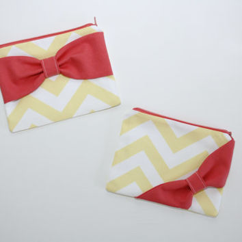 Cosmetic Case / Zipper Pouch / Makeup Bag - Yellow and White Chevron with Coral Bow - Customizable Bow Style