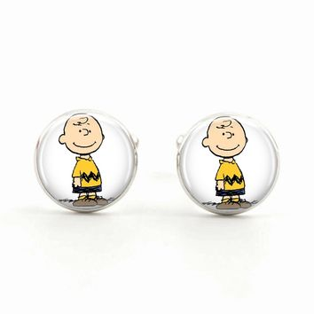 Stimulated Pearl Charlie Brown Cuff Links from the Peanuts Gang Fame