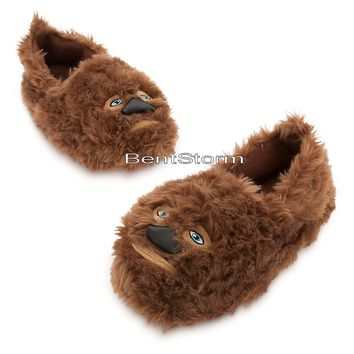 Licensed cool Star Wars Chewbacca Wookie Chewie SLIPPERS Plush ADULT House Shoes Disney Store