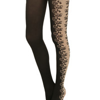 Black Rose Side Panel Tights